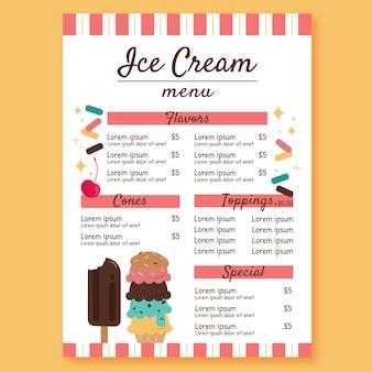Ice cream restaurant menu template