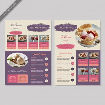 Ice cream restaurant menu