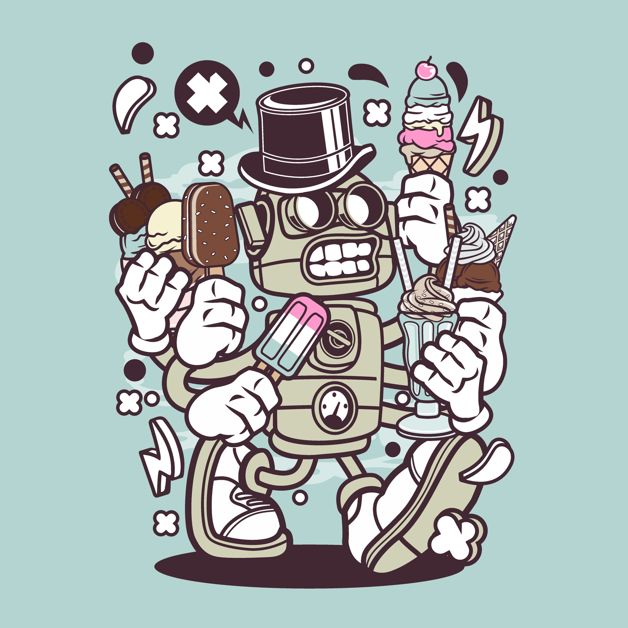 Ice Cream Robot Cartoon