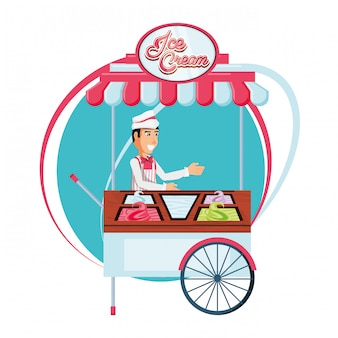 Ice cream sales man in cart kiosk character
