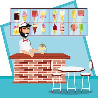 Ice cream sales man in kiosk character