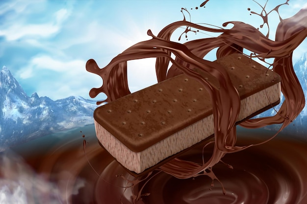 Ice cream sandwich cookie with pouring chocolate sauce on nature mountain background in 3d illustration