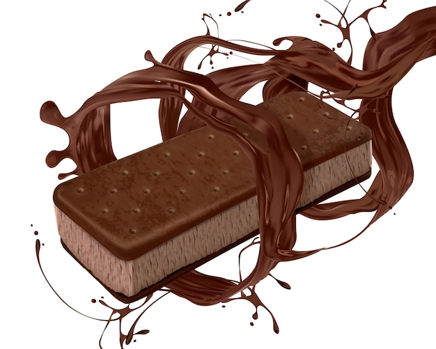 Ice cream sandwich cookie with pouring chocolate sauce on white background in 3d illustration