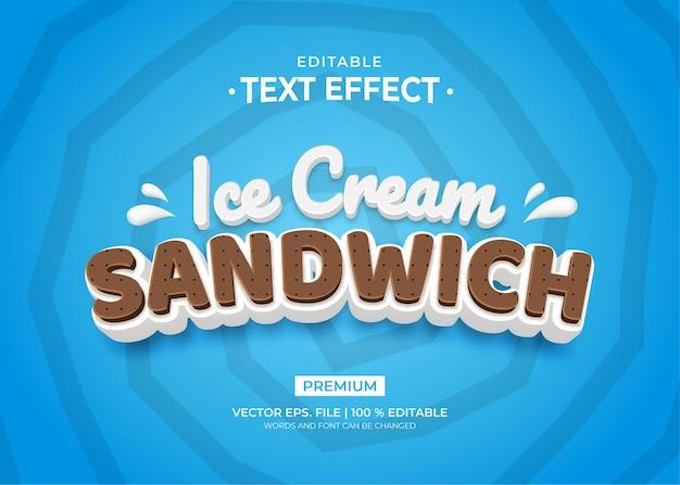 Ice cream sandwich text effect template