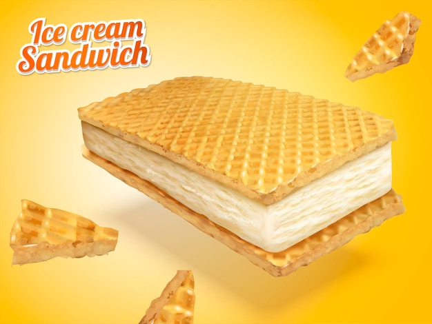 Ice cream sandwich with wafer cookies and milk fillings