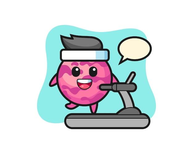 러닝머신 위를 걷는 아이스크림 스쿠프 만화 캐릭터, 티셔츠, 스티커, 로고 요소를 위한 귀여운 스타일 디자인