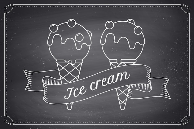 Ice cream scoop in cones and vintage engraving ribbon