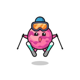 スキー選手としてのアイスクリームスクープマスコットキャラクター、tシャツ、ステッカー、ロゴ要素のかわいいスタイルのデザイン