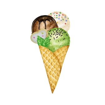 Ice-cream scoops decorated with chocolate in waffle cone tasty. watercolor illustration isolated. vanilla, chocolate and green pistachio ice cream balls