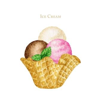 ミントの葉で飾られたアイスクリームスクープがワッフルコーンで美味しい。白い背景に分離された水彩イラスト。バニラ、チョコレート、ピンクのラズベリーアイスクリームボール