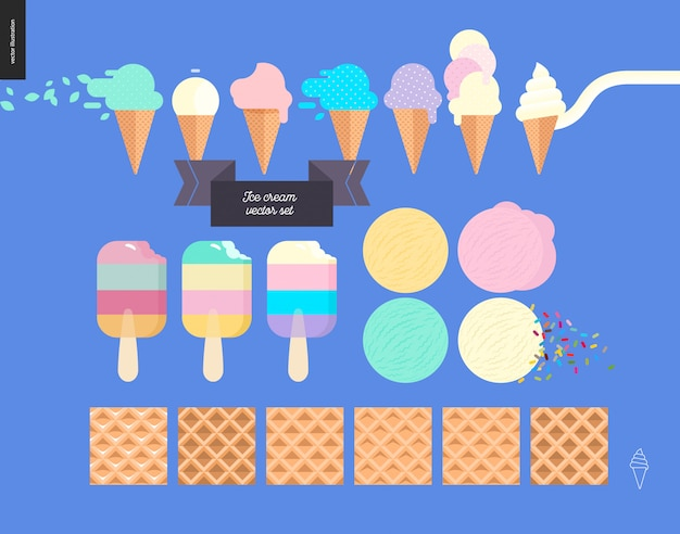 Ice cream scoops in waffle cones set - flat cartoon vector illustration of popsicles, ice creams, vanilla, mint, pink, purple and fruit scoops, waffle, sprinkles