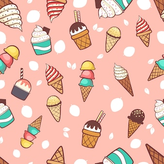 Ice cream seamless pattern background