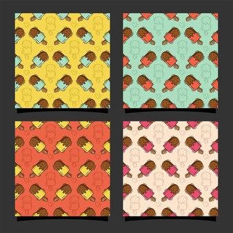아이스크림 원활한 패턴 디자인 프리미엄