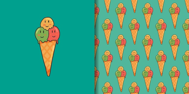 Ice cream and seamless pattern on green