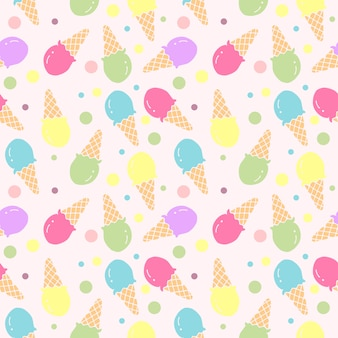 Ice cream seamless pattern illustration vector