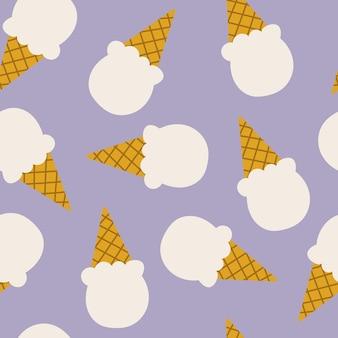 漫画のフラットスタイルのアイスクリームのシームレスなパターン