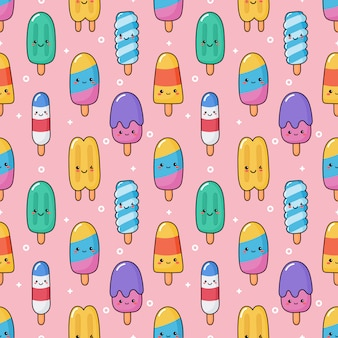 Ice cream seamless pattern kawaii style.