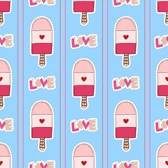 青い背景にアイスクリームシームレスパターン