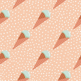 Ice cream seamless pattern. pink background with white dots and turquoise cream in waffle cone.