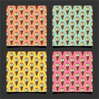 아이스크림 원활한 패턴 프리미엄 디자인