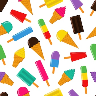 Ice cream seamless pattern vector design