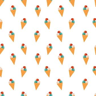 アイスクリームのシームレスなパターン。甘い夏の御馳走のベクトルイラスト。