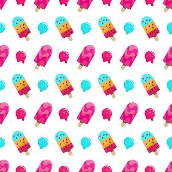 アイスクリームのシームレスなパターンベクトル図