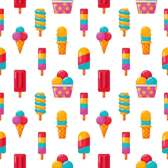 Ice cream seamless pattern on white