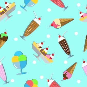 アイスクリームシームレスパターン