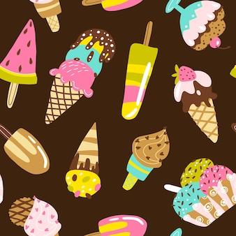 アイスクリームのシームレスなパターン