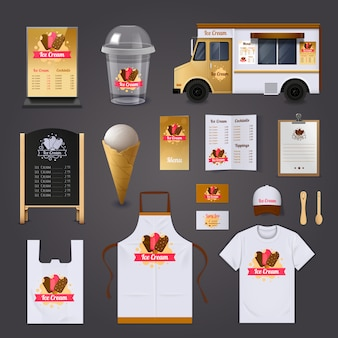 Ice cream selling realistic design set