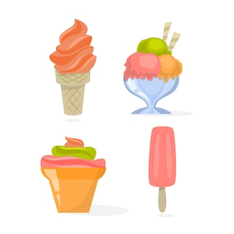 Ice cream set. collection of delicious cold