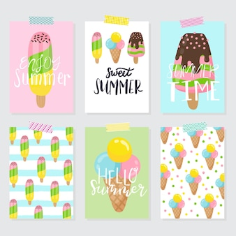 Набор мороженого. летняя иллюстрация с буквами. вектор. подходит для пекарни, кафе, ресторана, плаката, плаката, открытки и этикеток.