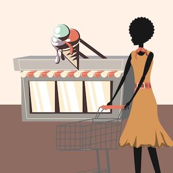 アイスクリームショップと女性