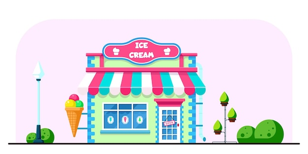 Дизайн здания магазина мороженого в плоском стиле иллюстрации Premium векторы