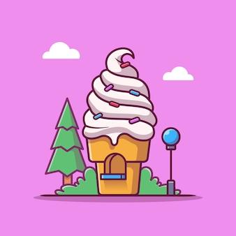 Иллюстрация шаржа магазина мороженого. продовольственный магазин здание значок концепции изолированы. плоский мультяшном стиле