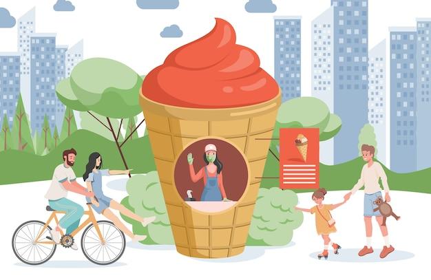 Ice cream shop in city park