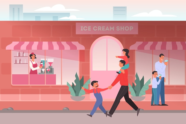 Ice cream shop concept. family in ice cream shop, cafeteria interior. dad buying his children an popsicle. ice cream woman staying by a counter.