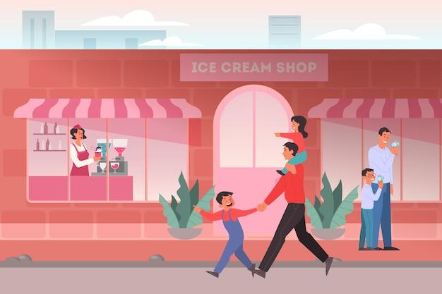 アイスクリームショップのコンセプトです。アイスクリームショップ、カフェテリアのインテリアの家族。お父さんが子供にアイスキャンデーを買う。カウンターに泊まるアイスクリームの女性。