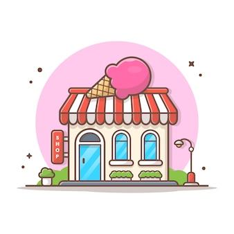 Мороженое магазин вектор иконка иллюстрация. концепция здания и ориентир значок белый изолированный