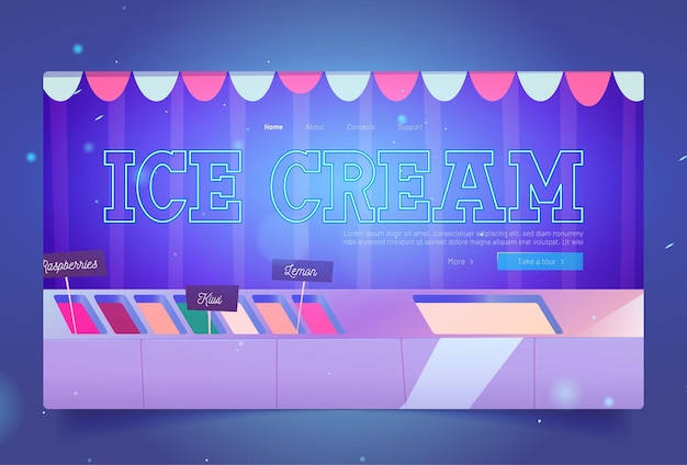 Ice cream shop website with sundae in fridge