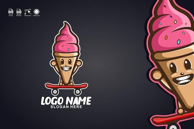 アイスクリームスケートボードかわいいマスコットキャラクターのロゴデザイン