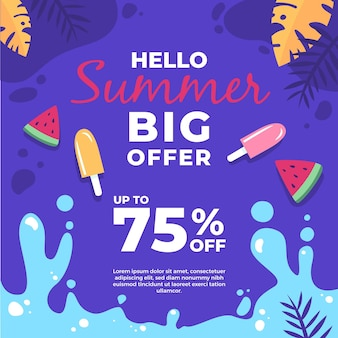 Ice cream and slices of watermelon summer sale