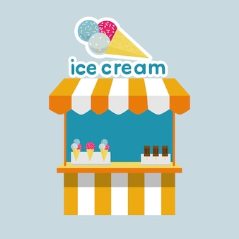 놀이 공원 서커스 영화관 플랫 벡터를 위한 아이스크림이 있는 아이스크림 스톨 키오스크