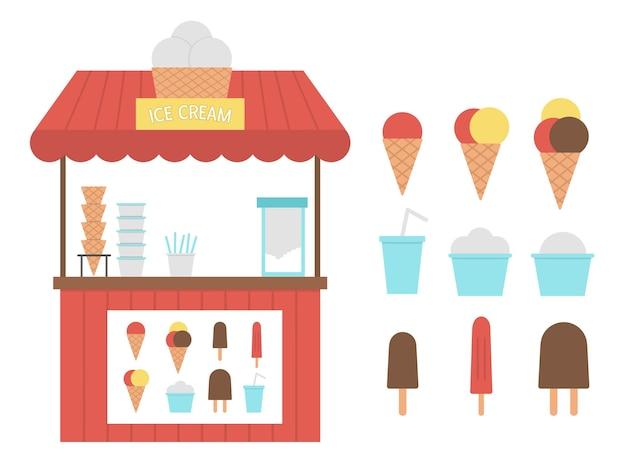 메뉴가있는 아이스크림 마구간