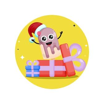 아이스크림 스틱 크리스마스 선물 귀여운 캐릭터 로고