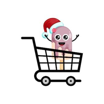 아이스크림 스틱 크리스마스 쇼핑 귀여운 캐릭터 로고
