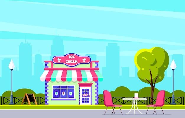 아이스크림 가게 건물 디자인. 도시 거리 카페. 배경에 큰 도시 실루엣입니다. 플랫 스타일 그림.