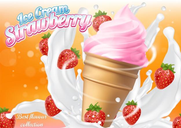 Ice cream strawberry cone dessert vector realistic illustration