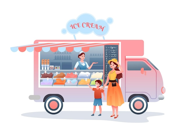 Ice cream street market food truck. cartoon mother character buying child son ice cream, woman seller vendor selling cold dessert sweet snack in kiosk marketplace
